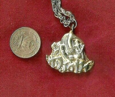 THOTH MARDI GRAS SILVER NECKLACE PENDANT KREWE FAVOR New Orleans Bling Bead Vtg