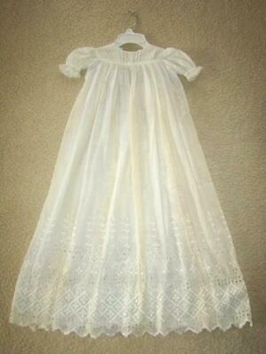 Beautiful Antique Baby Baptism CHRISTENING GOWN Embroidered Eyelet Dress Batiste