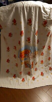 VTG Winnie the Pooh PIGLET HUNNY POT flannel crib flat sheet fitted end Sears
