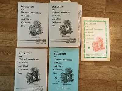 Bulletin of the National Association of Watch & Clock Collection 5 Booklets 1973