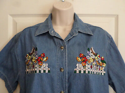 S~Bobbie Brooks S/S Chambray Button Top Blouse~Embroidered Birds Flowers~CUTE!