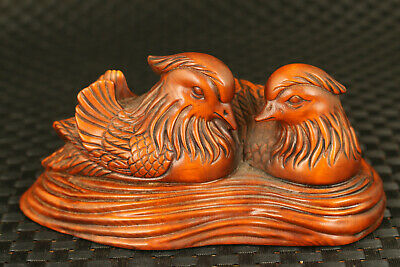China old boxwood Handcarved mandarin duck statue netsuke table home decoration