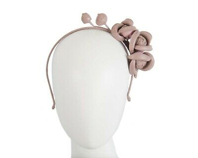 Taupe leather flower winter racing fascinator by Max Alexander. RRP: $119.95