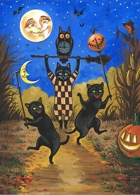 Halloween witch costume party dracula owl cat ACEO Giclee art print Criswell