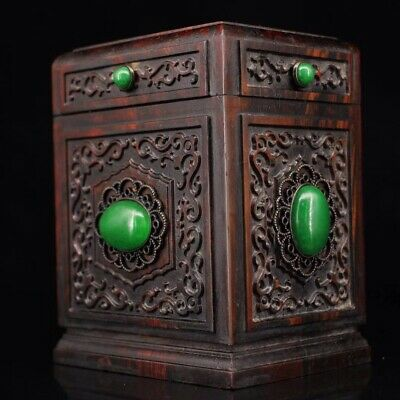 Chinese Old rosewood carving with gems Tea box tank
