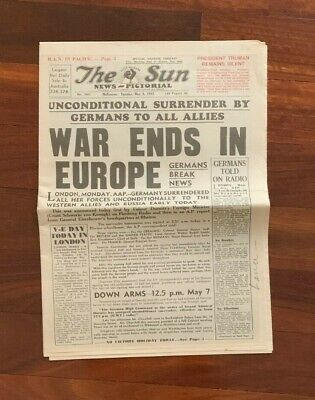 The Sun 8 May 1945 War Ends in Europe