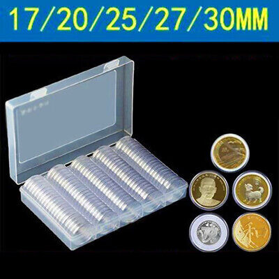 100 Coin Storage Case Capsules Holder Clear Plastic Collections Display With Box