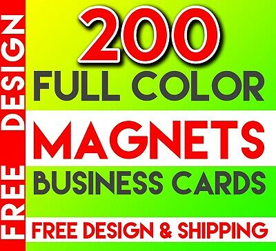 Magnets Business Cards / 200 Full Color / Free Design & Shipping