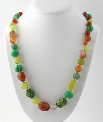 """NEW Carnelian, Mother of Pearl, & Aventurine Necklace 31"""" Sterling Silver Beaded"""