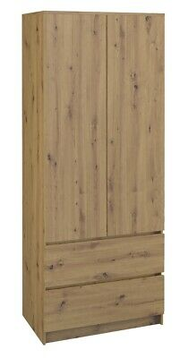 Double Wood Wardrobe with Drawer and Shelf Oak Artisan