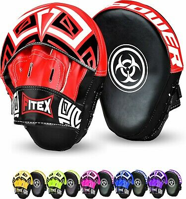 Boxing Adult Focus Pads Set Hook & Jabs Curved Mitts Punch Bag Gym Training MMA