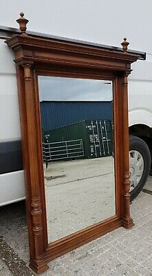 Beautiful Antique French Henri II Walnut Framed Wall Floor Bevel Glass Mirror