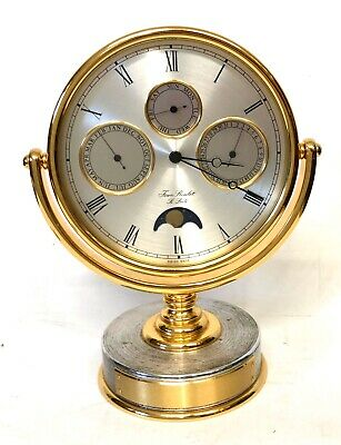 JEAN ROULET LE LOCLE Swiss Month Day Date and Rolling Moon Desk Mantel Clock