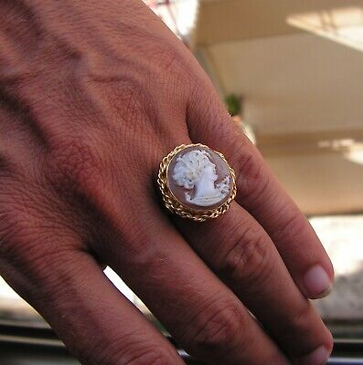 Victorian Arts & Crafts Ring Antique Italy Cameo Shell  Gold Ring Size 7,5