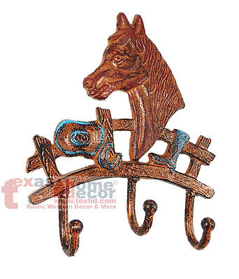 Horse Bust Wall Hook Coat Hanger 3 Hooks Rustic Western Key Cast Iron Rust Color