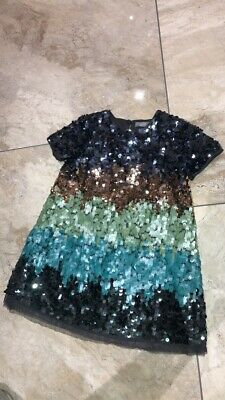NEXT Girls Sequin Dress Age 3 Years Kids Polyester Black Green Bronze