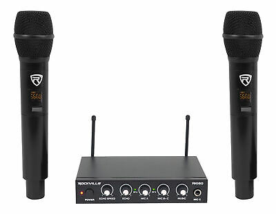 Rockville RKI60 Dual UHF 8 Chan Wireless Microphone Karaoke Interface+Mic Mixer