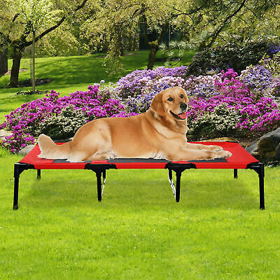 """48"""" x 36""""x 9"""" Elevated Pet Bed Raised Dog Cot w/ Carrying Bag Red Black"""