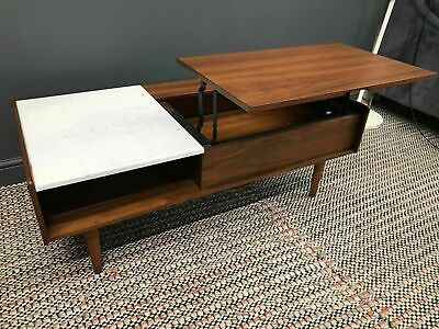 NEW West Elm Mid Century Storage Coffee Table Marble Walnut RRP £599 New Other