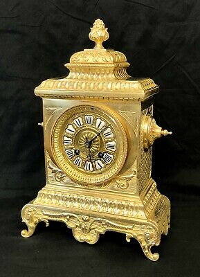 Grand Antique Brass Bracket / Mantel Clock  : Beautifully Detailed