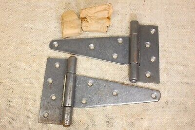 "2 Old Barn Shed Door Strap Tee Hinges 8 x 4 1/2"" gate extra heavy vintage NOS"