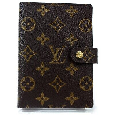 Authentic Louis Vuitton Diary Cover R20005 Agenda PM Browns Monogram 810616