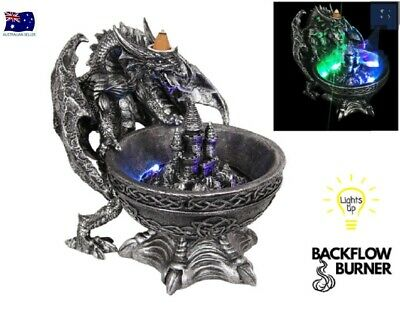 Gothic Silver Dragon Breathing Smoke Light Up Backflow & Incense Burner DRABOWBF
