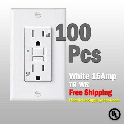 100 Pk-15 AMP GFCI WhiteTR & WR SELF TEST Receptacle Outlet -