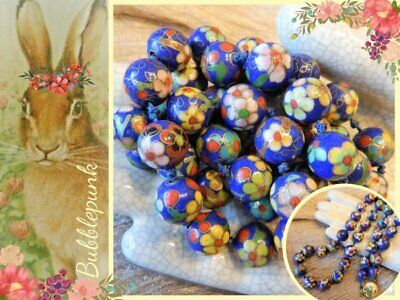 Antique Vintage Chinese Cloisonne Enamel Hand-Knotted Floral Bead Necklace 26""