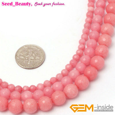 """Faceted Round Pink Jade Stone Jewelry Loose Beads Making Strand 15"""" Wholesale"""