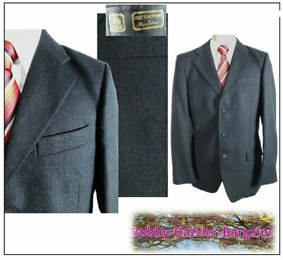 """Bespoke Hector Powe 2 piece mens suit Ch36""""R W30"""" L30"""" Charcoal Pinstripe Vntge"""