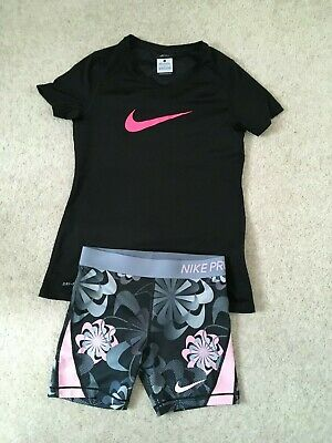Girls Nike multi col activewear top and shorts age 12/13 yrs exc con