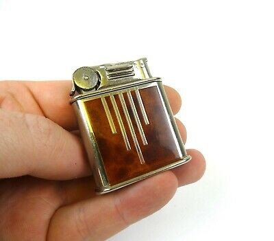 Rare Original Avantgarde Art Deco 30S Geometric Enamel & Chrome Pocket Lighter