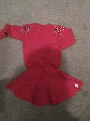stunning x2 piece Red Pearl jumper and skirt age 4-5yrs bnwot