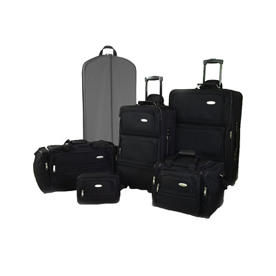 Ultralite 3,5 or 6 Piece Expandable Luggage Set - Jet Black/Gray with Rollers