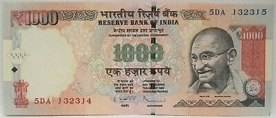 India 2000 ... 1000 Rupees ... Collector's Misprint ...  Mis-Matched Serials
