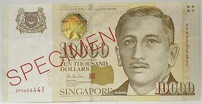 SINGAPORE 1999 .10,000 DOLLARS . COLLECTOR'S SPECIMEN BANKNTOE..RARE and aUNC