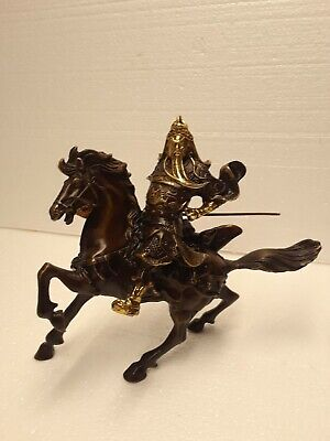 Old Chinese Bronze gilt Warrior Guan Gong Yu Hold Sword Ride horse Statue