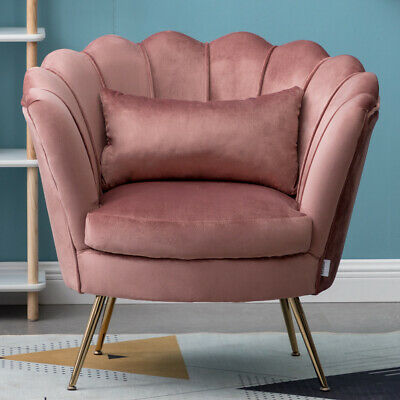 Lotus Design Seats Velvet Armchair Single Sofa Footstool Cushiony Ottoman Chairs