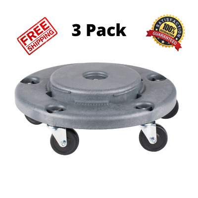 3 COUNT Lavex Janitorial Gray Trash Can Dolly