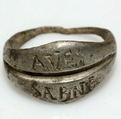 Roman Silver Ring With Descriptions Aves Sabina Circa 100-200 Ad