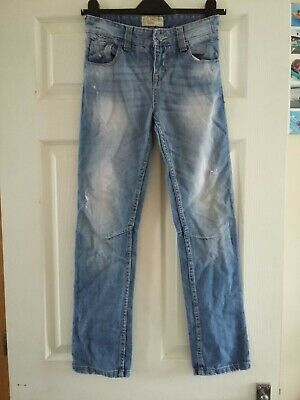 Boys Jeans Age 10 Years - Next - Ripped Blue Stonewash - Adjustable Waist