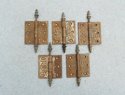 "Cast Iron Victorian Gothic Door Hinge Lot 5 Matching 3 1/2"" Salvage Hardware"