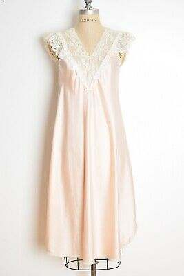 vintage 80s nightgown Christian Dior peach satin lace lingerie nightie XS S