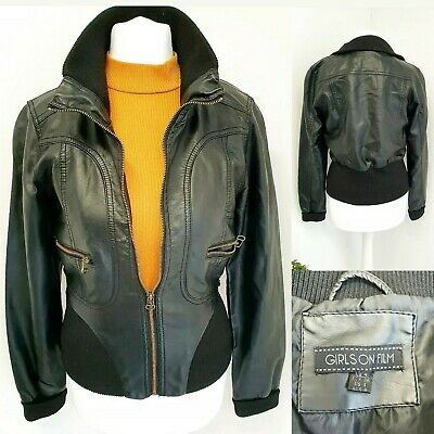 Girls On Film Womens Jacket Size 8 Black Soft Faux Leather Bomber