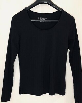 Philosophy Republic Clothing Women's Long Sleeve Top Shirt Solid Black Size S
