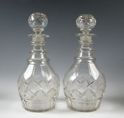 Antique Flint Cut Glass Decanters 19th century Pittsburgh