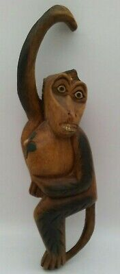 "Wooden Monkey Hanging Hand Carved Figurine 12"" Long Holding Coconut Mid Century"