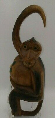 "Wooden Monkey Hanging Hand Carved Figurine 10"" Long Holding Coconut Mid Century"
