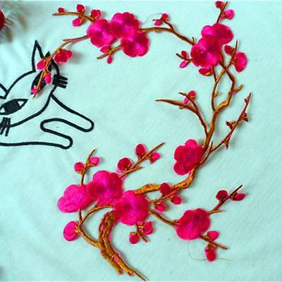 Lovely Embroidered Plum Blossom Flower Patch Iron//Sew on Applique Motif PTCAB JB